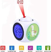 JLHEB Projection White Alarm Clock Digital LCD Display Voice Talking Table Clocks Temperature Snooze Function Desk Alpaca