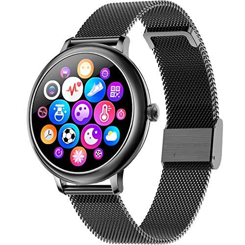 FXMJ Pulseras Actividad Inteligentes, Smartwatch Resistente Al Agua IP67 con Monitor De Frecuencia Cardíaca Y Sueño, Contador De Calorías, Smart Watch con Pantalla Táctil A Color De 1,08',Negro