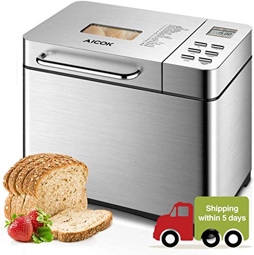 Aicok Stainless Steel Bread Machine, 2LB 19-in-1 Programmable XL Bread Maker with Fruit Nut Dispenser, Nonstick Ceramic Pan, 3 Loaf Sizes & 3 Crust Colors, Gluten-Free Setting, Reserve& Keep Warm Set