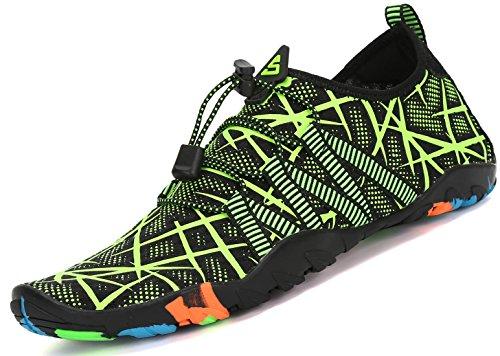 SAGUARO Unisex buty do wody, miękkie, oddychające, lekkie, antypoślizgowe buty dla kobiet i mężczyzn, zielony - Paski zielone - 43 EU