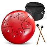 Steel Tongue Drum 6 Inch 8 Notes Handpan Drums Percussion Musical Instrument with Carry Bag Drum Mallets Music Book Tongue Drum for Musical Education Meditation Entertainment Yoga Gift for Kids Adults