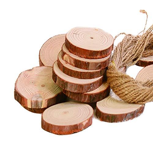 Onepine 30 pezzi 6-7CM a Fettine di Legno Naturale Truciolo di Legno con fori per Ornamenti Natalizi, Progetto Artigianale fai da te (30 pezzi)