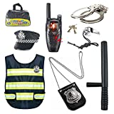 Donreay Accesorios para niños, disfraz de policía, chaleco de cosplay, sombrero