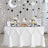 White Tulle Table Skirt Baby Shower Tablecloth for Wedding Birthday Parties Rectangle Tables 6ft
