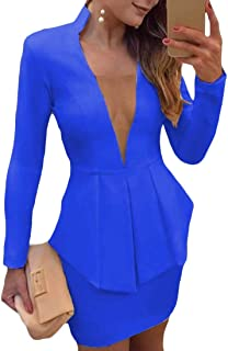 desolateness Womens 2 PCS Outfits Business Sexy Casual Suit Set Blazer and Skirt