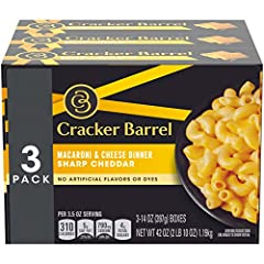 From the makers of Award Winning Cheese - Cracker Barrel Sharp Cheddar Macaroni & Cheese Smooth, creamy and full of flavor No artificial flavors or dyes Convenient 3 Pack 320 Calories per serving