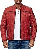 Elara Chaqueta de piel auténtica para hombre, estilo motero, Chunkyrayan rojo oscuro XL