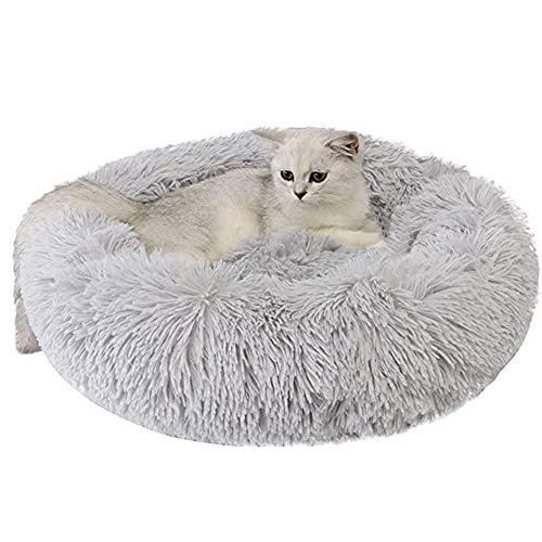 Calming Dog Cat Donut Bed - Fluffy Plush Puppy Kitten Cuddler Round Bed, Warm and Soft Pet Cosy Anti Anxiety Beds with Non-Slip Bottom and Washable (M 19.7in, Grey)