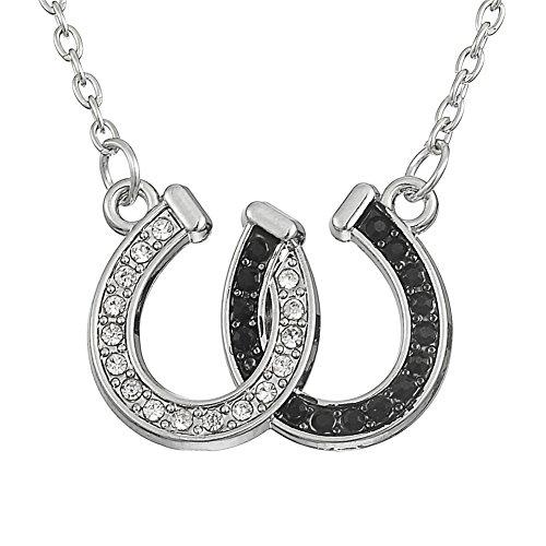 Collar con colgante de herradura de cristal y símbolo de la suerte, regalo en blanco y negro, para mujeres, niñas, hombres