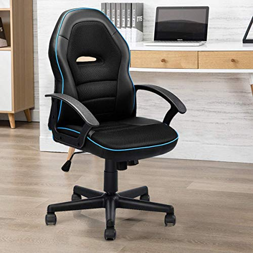 Giantex Mid-Back Office Chair, PU Leather with Breathable Cushion Computer Desk Task Chair, Racing Style Gaming Chair (Blue) blue chair gaming