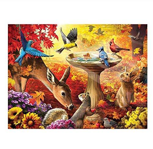 Ciervo, Conejo y pájaro, 1000 Piezas, Rompecabezas de Madera, Adultos, niños, Ocio, Entretenimiento, Rompecabezas, Juguete