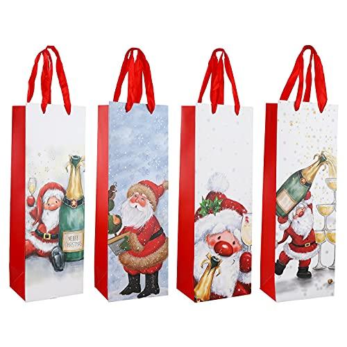 12 bolsas de regalo de vino de Navidad de papel kraft para botellas de vino con asa Bolsa de botella de vino con purpurina, bolsas de champán, decoraciones para fiestas de Navidad, bolsa de regalo