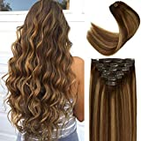 Lacer 22 Inch Highlight Clip in Hair Extensions Chocolate Brown to Caramel Blonde Remy Clip in Human Hair Extensions Straight Balayage Real Natural Hair Extensions 140g 7pcs