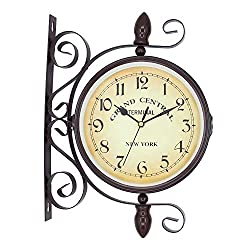 ColouredPeas Vintage-Inspired Double Sided Hanging Wall Clock Wrought Iron Antique-Look Round Brown Two Faces Retro Station Clock with 360 Degree Rotation Home Decor 8 Inches (Dark Brown)