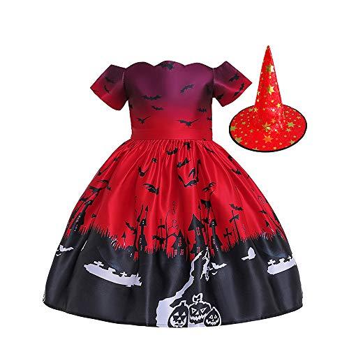 Minizone Flickor klänning halloween kostym häxa hatt outfit fladdermus pumpa klänningar barnkläder gåva för fest födelsedag ålder 2-10 år