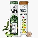 Wellbeing Nutrition Organic Daily Greens - Whole Food Multivitamin and Grandma's Kadha- Ayurvedic