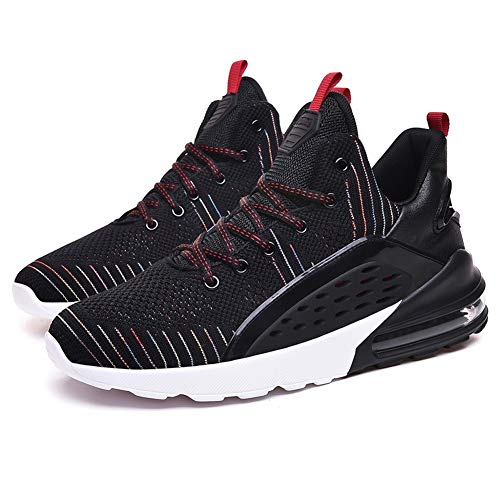 XIMIXI Zapatos de baloncesto para hombre, suela de goma acolchada, parte superior media, con cordones transpirables, zapatillas deportivas para hombre, color Negro, talla 39 2/3 EU