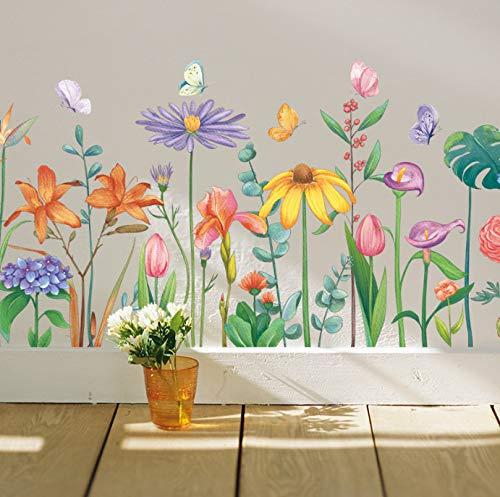 Hojas tropicales Flor colorida Arte Etiqueta de la pared para la decoración de la sala de estar Papel pintado Cocina Dormitorio Zócalo Decoración para el hogar Mural