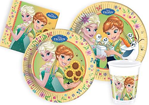 Ciao- Kit Party Tavola Disney Frozen Primavera per 24 Persone (112 pezzi: 24 piatti carta Ø23cm, 24 piatti carta Ø20cm, 24 bicchieri plastica 200ml, 40 tovaglioli carta 33x33cm), Y5057