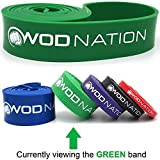 WOD Nation Pull up Assistance Bands Best for Pullup Assist, Chin Ups, Resistance Band Exercise, Stretch, Mobility Work & Serious Fitness - Single Band 41 inch Straps | Green 50-125 lbs Strength