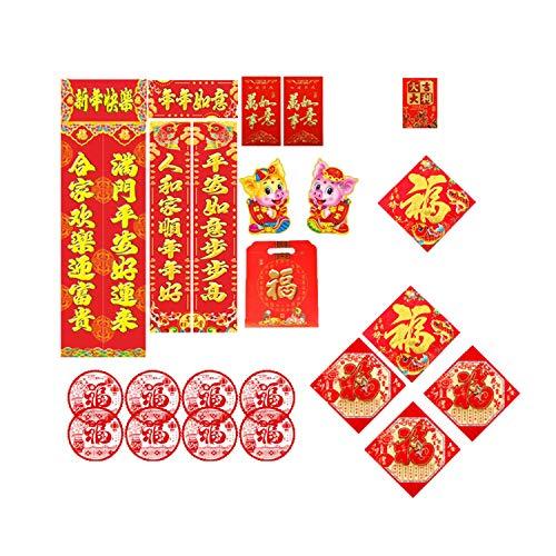JQJPJOSIE Fête du Printemps Chinois en Trois Dimensions FU Hunchun Hot Stamping Couplet Pack Cadeau du Nouvel an Festival du Printemps Couplet Spree Cadeau Parfait à Un ami Chinois