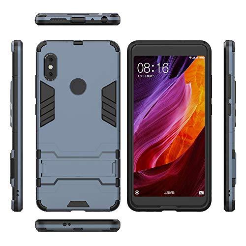COOVY® Cover für Xiaomi Redmi Note 5 / Note 5 pro Bumper Hülle, Doppelschicht aus Plastik + TPU-Silikon, extra stark, Anti-Shock Hülle, Standfunktion | Navyblau