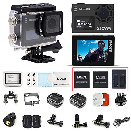 Sjcam SJ6 Legend 4K Ultra HD Sports Action Camera 30M Waterproof WiFi Camcorder with 2 Batteries and 1 Dual Charger Portable Package Accessory Set in Big Size Carry Case Bag - Black Color