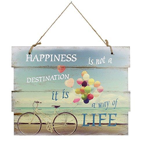 Woodpassion - Targa in legno con cordoncino da appendere, 30 x 40 cm, Legno, Happiness, 30 x 40 cm