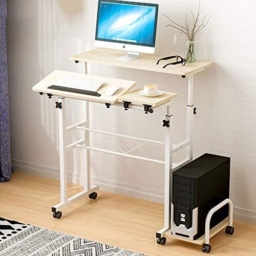 Postazioni di Lavoro per Computer Semplice Moderna inclinabile Writing Desk Computer Notebook Regolabile Desk con Ruote Computer Desk Home Office Camera (Color : Light Beige, Size : Free Size)