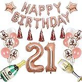Decoración De Fiesta De Cumpleaños Conjunto De Globos De Oro Rosa. Conjunto de vítores de 21 años