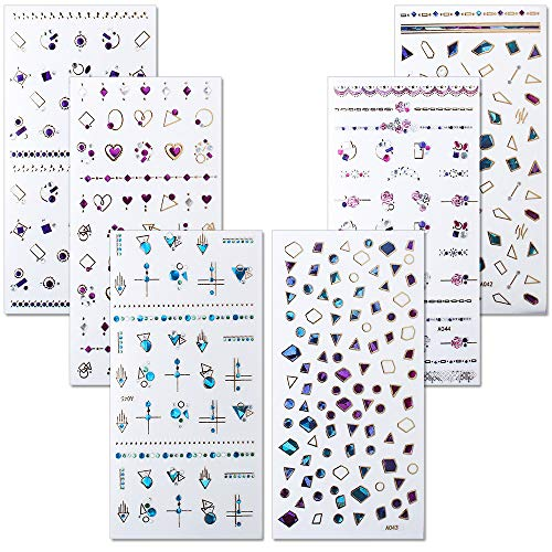 WOKOTO 6 Sheets 3D Adhesive Nail Art Jewelry Stickers Set Sapphire Rose Flower Design Nail Rhinestone Decals Manicure Decoration