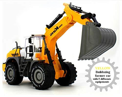 KLEIN Design King - 9998-21- Baufahrzeug / Schaufelbagger mit Reibungsmotor in gelb