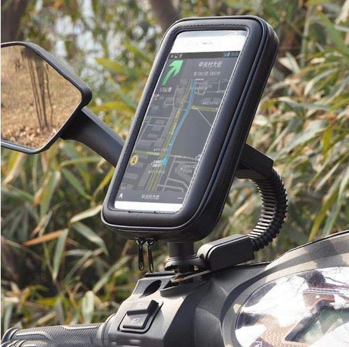 ssms Mobile Waterproof Bike Scooty Holder Waterproof Phone Mount at Rear View Mirror  Smartphone Motorcycle Mobile Zip Pouch Holder with 360* Adjustable Mount for All Mobile Phones.(Black)