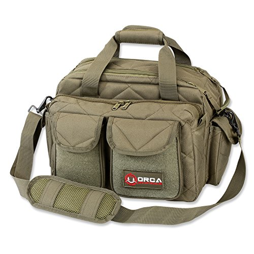 Orca Tactical Gun Shooting Range Bag Handgun Pistol and Ammo Duffle Carrier (OD Green)