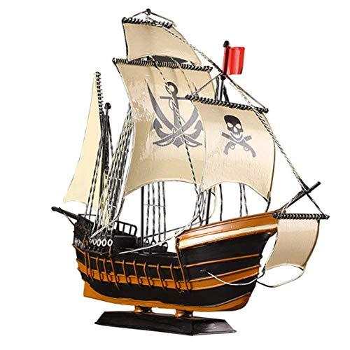 1yess Modell Schmiedeeisen Segelboot Modell Ornamente Piraten Schiff Handwerk Hobby DIY Spielzeug Geschenk Für Wohnzimmerstudie Schreibtisch Dekoration, 46 x38 x15 cm 8bayfa