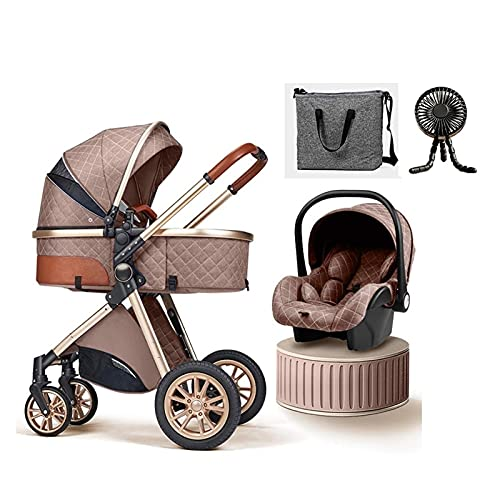 Baby Stroller 3 in 1 Luxury Bassinet Stroller Foldable Baby Stroller Easy Fold Stroller Footmuff Blanket Cooling Pad Rain Cover Backpack Mosquito Net Fan (Color : Khaki)