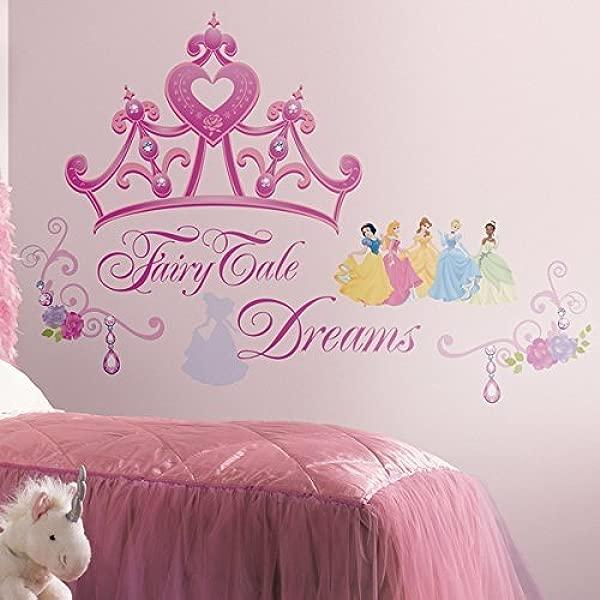 室友迪士尼公主和公主皇冠剥离和粘贴巨型墙贴花