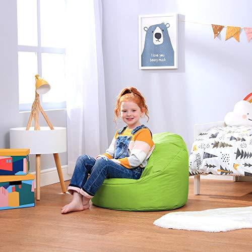 Bean Bag Bazaar Silla Tipo Puf Infantil Clásico – 58cm x 42cm, Puf Grande Infantil para Interiores o Exteriores (Verde Lima, 1)