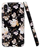 SPEVERT Compatible with iPhone Xs Case for iPhone X Case,Gold Sparkle Glitter Cute Marble with Soft Microfiber Lining Premium Protective Case Design for iPhone Xs iPhone X - Black Flower