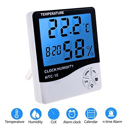 Zexuan Digitale Hygrometer Thermometer Uhr Wecker, Indoor & Outdoor LCD Digitales Thermo-Hygrometer Raumklimakontrolle Raumluftüerwachtung Feuchtigkeit Zähler, Multifunktionale Hygrometer, Display