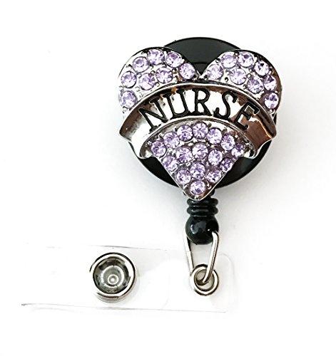 WigsPedia Medical RN Doctor Nurse Rhinestone Retractable Badge Reel/ID Badge Holder/Brooch/Pendant/Id Badge Holder (Nurse Light Purple (Lavender) Heart)