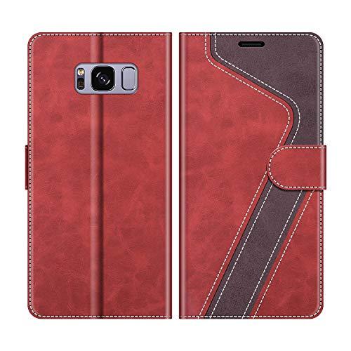 MOBESV Handyhülle für Samsung Galaxy S8 Hülle Leder, Samsung Galaxy S8 Klapphülle Handytasche Case für Samsung Galaxy S8 Handy Hüllen, Modisch Rot