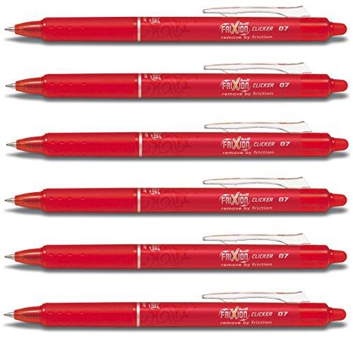 Pilot Frixion Clicker rot mit löschbarer Kugelschreiber, feine Spitze, 0,7 mm Spitze 0,35 mm Strichbreite Blrt-Fr7 (6 Stück)