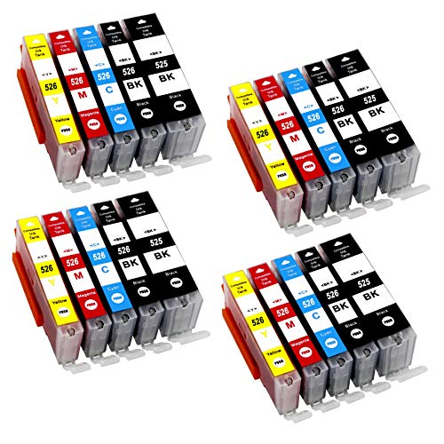 Bergsan 20 Druckerpatronen kompatibel für Canon PGI-525 CLI-526 mit Chip für Pixma IP4850 IP4950 IX6550 MG5150 MG5250 MG5350 MG6150 MG6250 MG8150 MG8250 MX710 MX885 MX895 IX6550 MG6100 MG6200