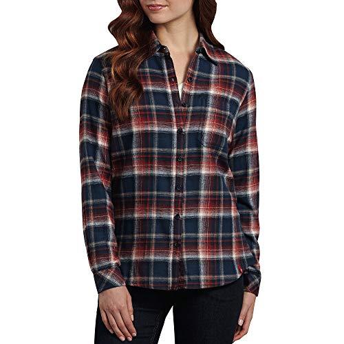 Dickies Women's Long-Sleeve Plaid Flannel Shirt, Canyon Maple/Blue Violet, Medium