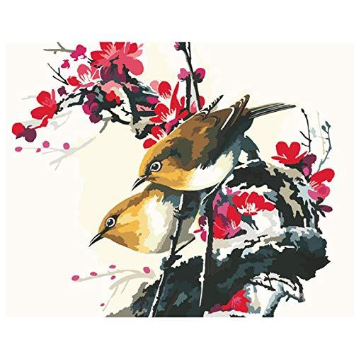 Rjunjie Primula pruimenbloesem dier digitaal schilderen op cijfers moderne muurkunst canvas schilderen uniek geschenk wooncultuur 50 x 65 cm geen lijst