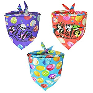 Malier 3 Pack Easter Dog Bandana, Triangle Bibs with Easter Eggs and Rabbit Star Printing Kerchief Dog Easter Costume Accessories Decoration for Small Medium Large Dogs Cats Pets
