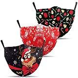 Mundschutz mit Weihnachts-Motiv 3er Set/Maske bunt, lustig, komisch/für Kinder und Erwachsene