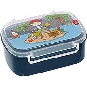SIGIKID Mädchen und Jungen, Kinder Brotdose mit buntem Druck, Lunchbox Sammy Samoa für Kindergarten, Schule & Ausflüge, BPA-frei, empfohlen ab 2 Jahren, blau, 25004