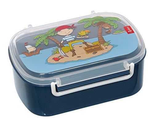 Sigikid 25004 Mädchen und Jungen, Kinder Brotdose mit buntem Druck, Lunchbox Sammy Samoa für Kindergarten, Schule & Ausflüge, BPA-frei, empfohlen ab 2 Jahren, blau, 25004